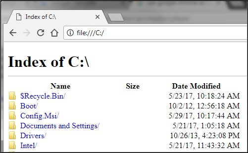 C drive can be accessed using Google Chrome