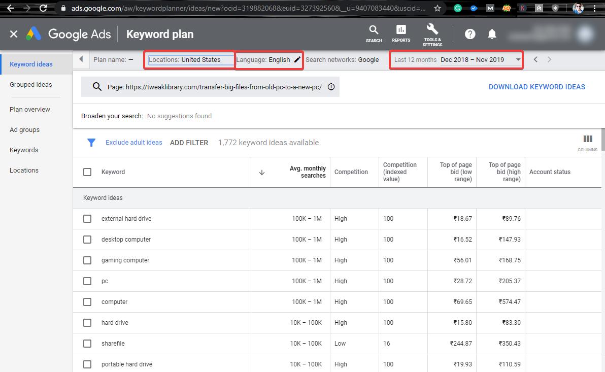 Google Keywords Planner filter options