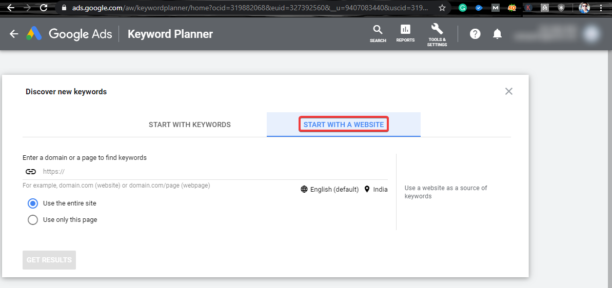 Google Keywords Planner web search