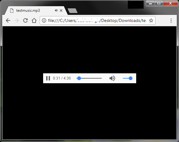 Google Chrome playing an audio file