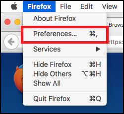Mac Firefox preferences