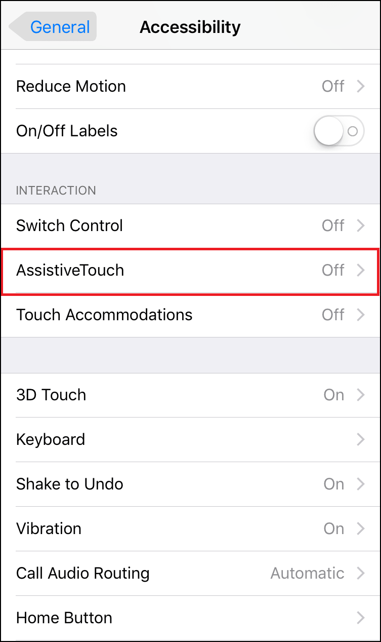 Assistive Touch Setting