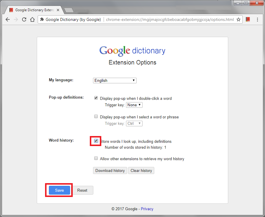 how to download google dictionary extension history in excel