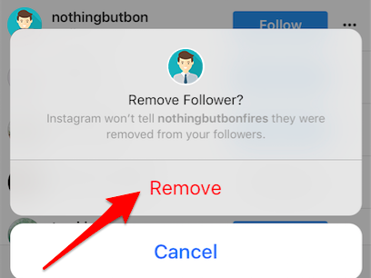 Remove followers from your Instagram private account