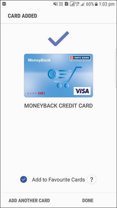 card added