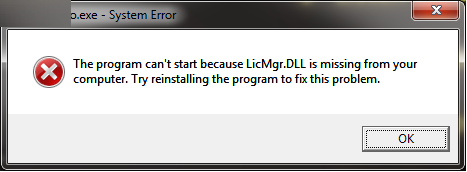 Dll error message