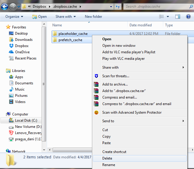 Clearing Dropbox Cache in Windows & Mac OS
