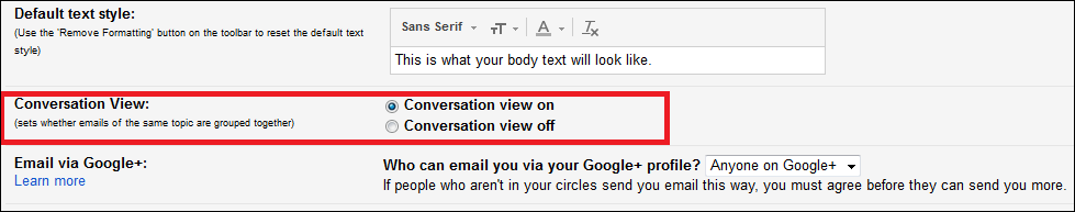 Turn on Conversation View