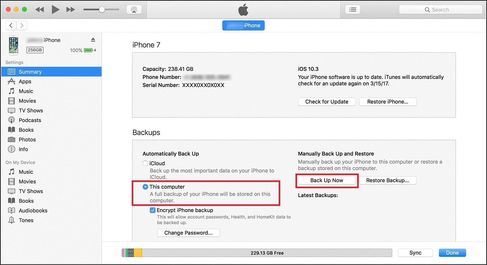 iTunes Computer Backup