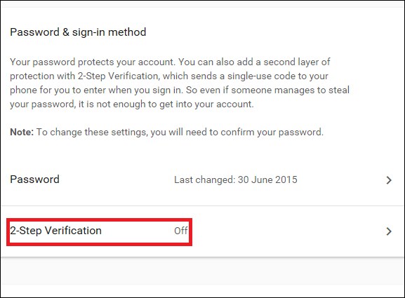 Option to enable 2 Step Verification feature