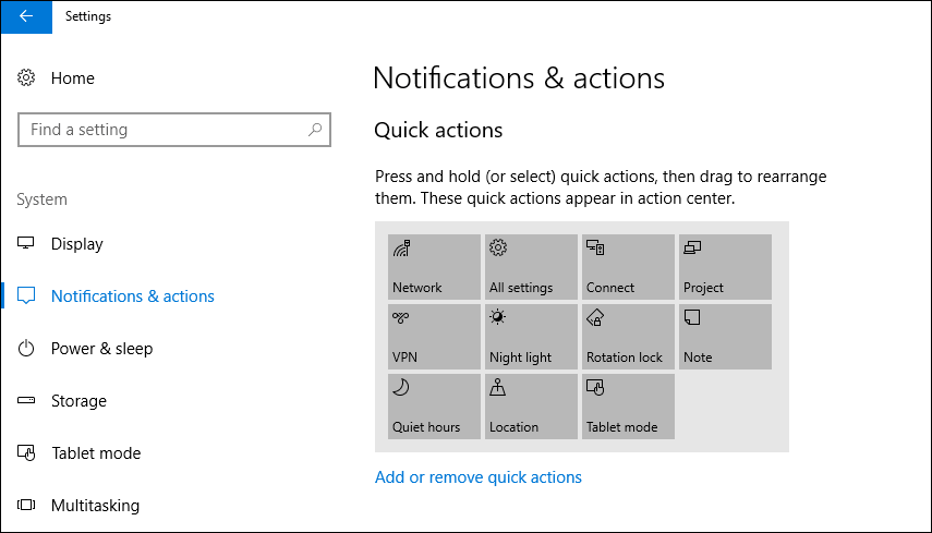 add or remove quick action icons