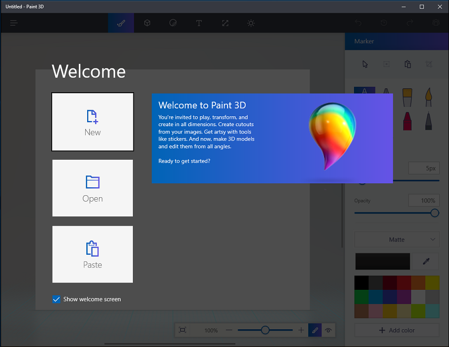 paint 3d welcome screen