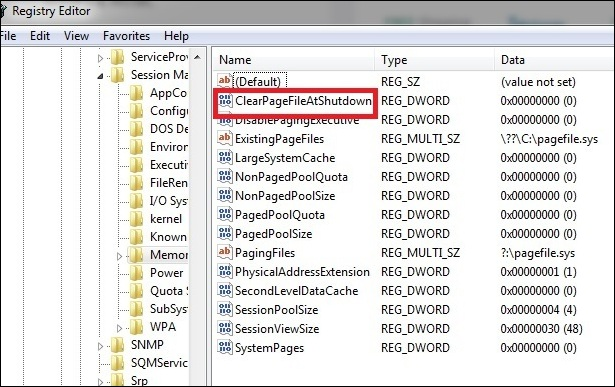 Clear Page File at Shut Down > Registry Editor
