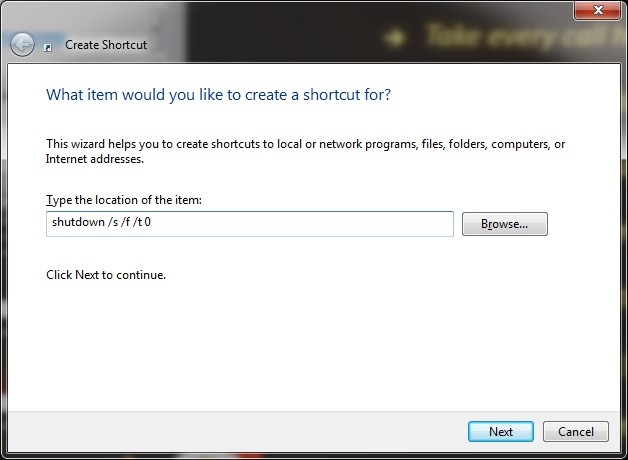 Shortcut for the shutdown