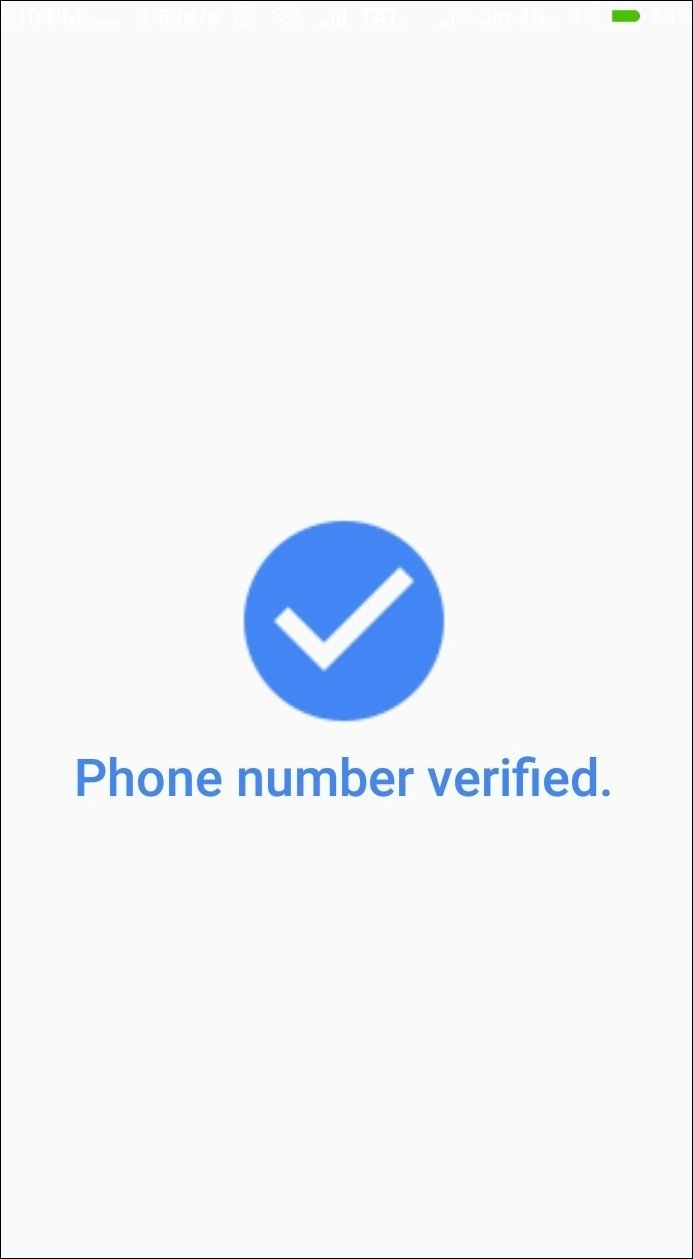 Phone number verified window