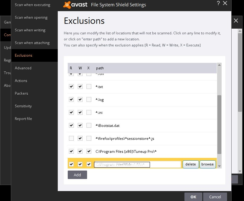 avast exclusion programs