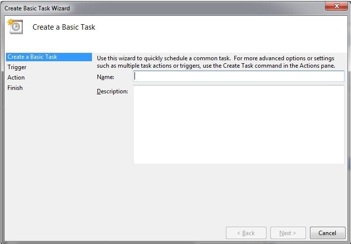 Create Basic Task wizard window