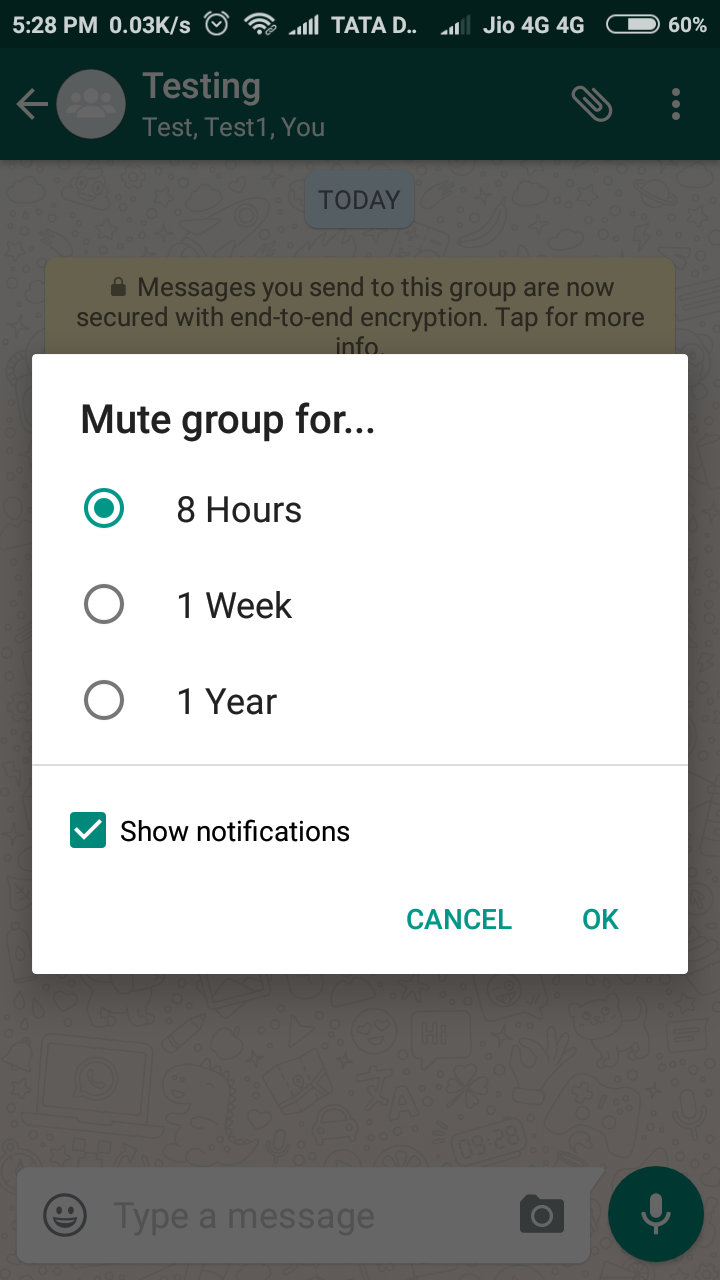 Select the mute time