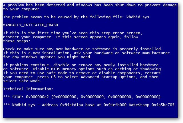 Blue Screen Of Death error window
