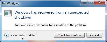 Dialogue box- Windows has recovered from an unexpected shutdown