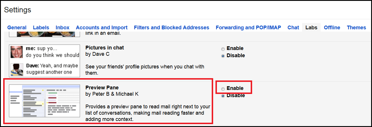 enable Preview Pane in our Gmail account