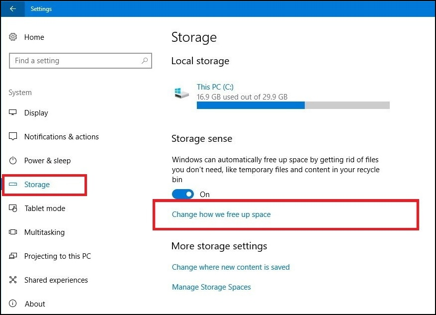 Setting Storage