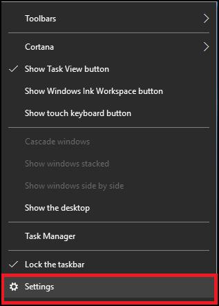 Taskbar Settings 1