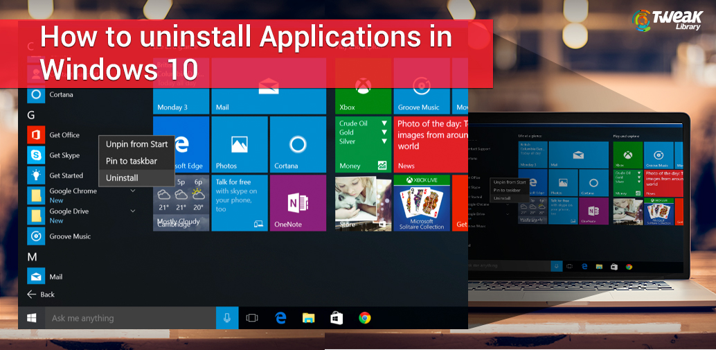 Uninstall apps from windows 10
