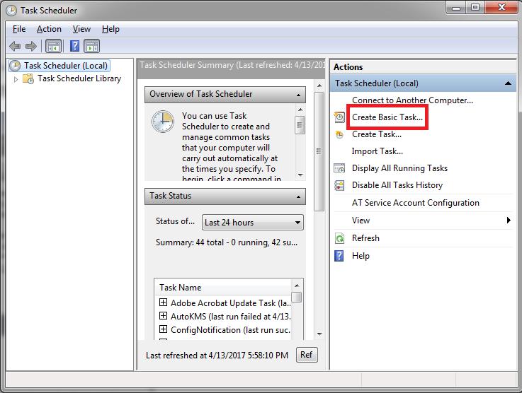 Click> Create Basic Task