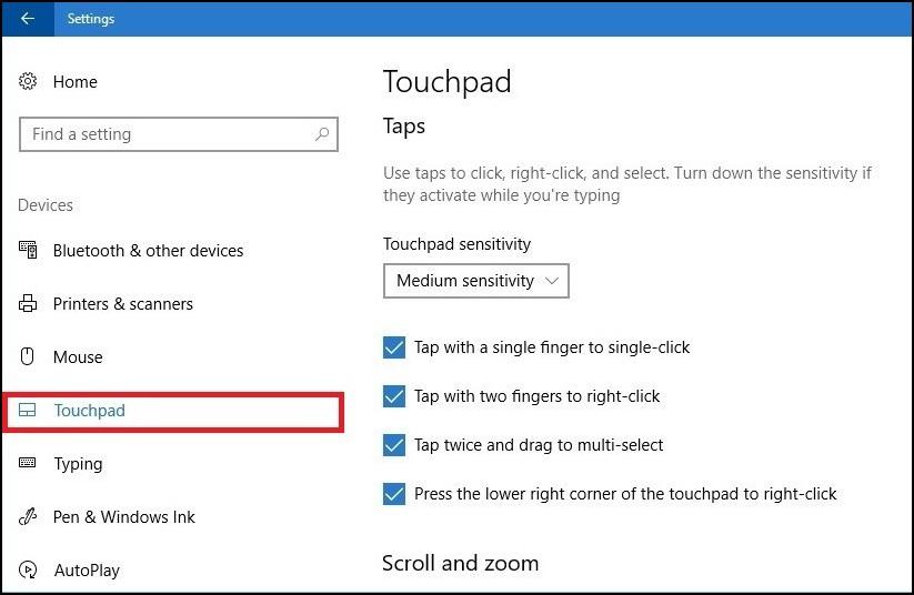 Touchpad Setting
